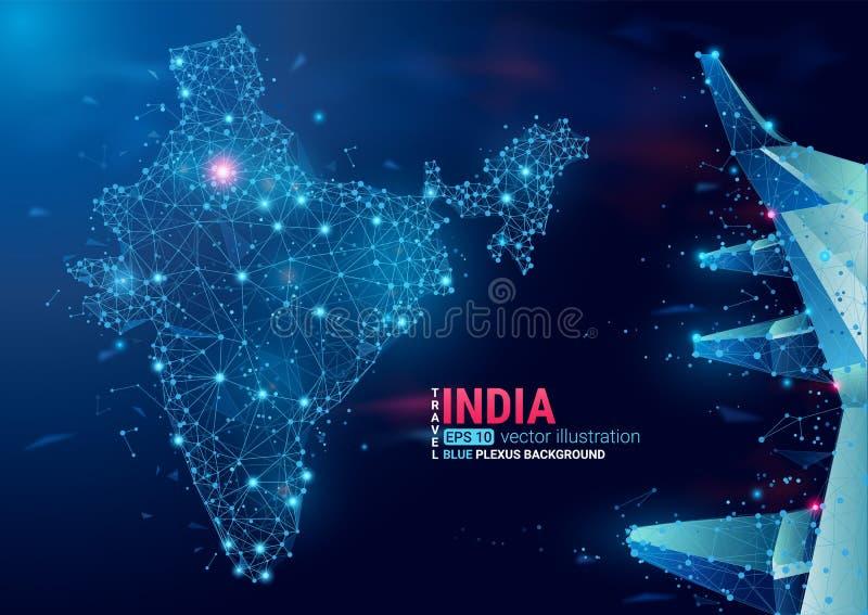 Karte von Indien Sich hin- und herbewegender geometrischer Hintergrund des blauen Plexus Kreativer abstrakter Vektor Hochtechnolo vektor abbildung
