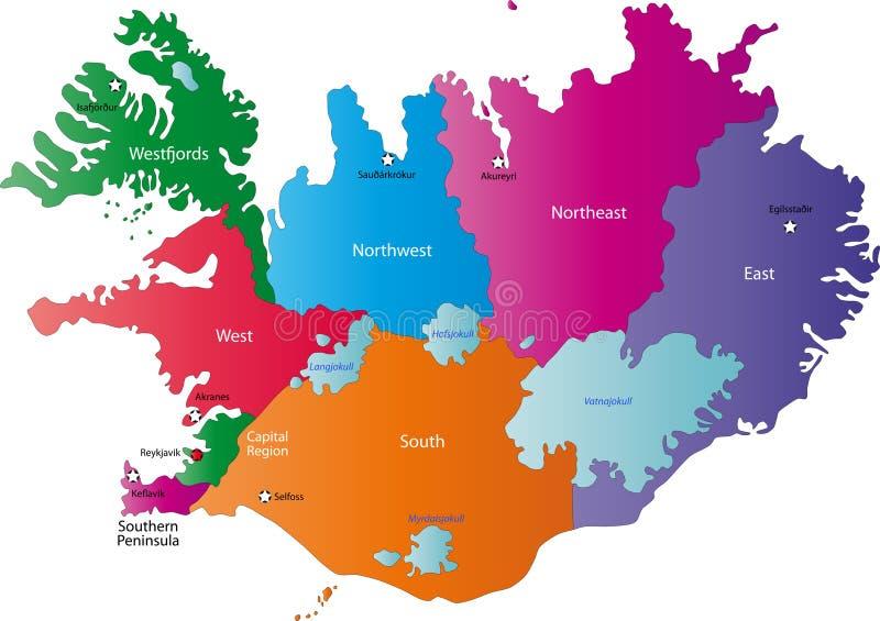 Karte von Island vektor abbildung
