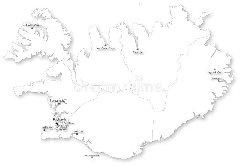 Karte von Island mit Regionen u. Städten stock abbildung