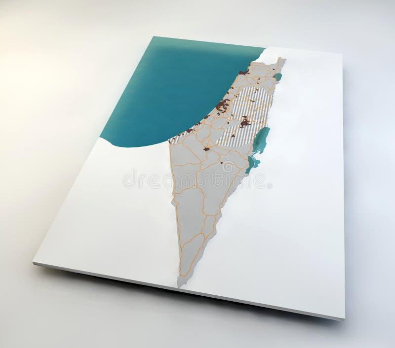 Karte von Israel und von palästinensischen Gebieten lizenzfreie abbildung