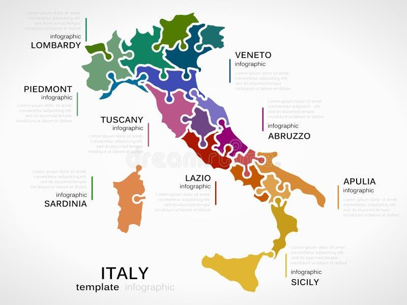 Karte von Italien lizenzfreie abbildung