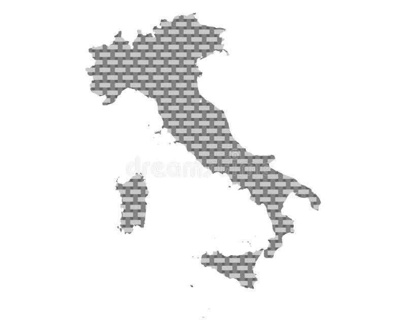 Karte von Italien-grobem ineinandergegriffen stock abbildung