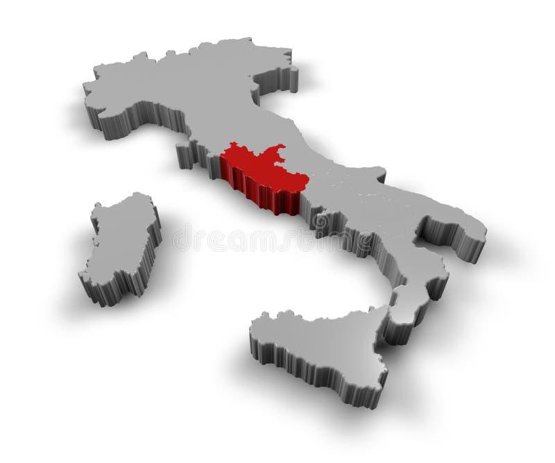 Karte von Italien Lazio stock abbildung
