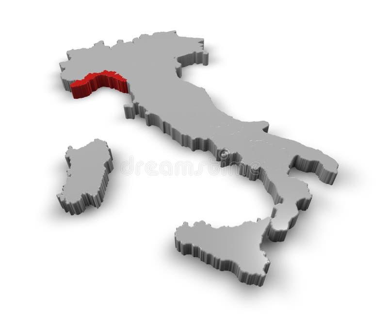 Karte von Italien Ligurien lizenzfreie abbildung