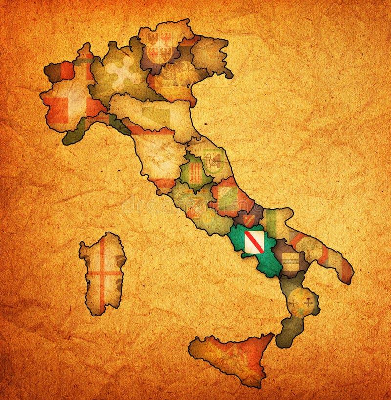 Karte von Italien mit Campaniaregion lizenzfreie abbildung