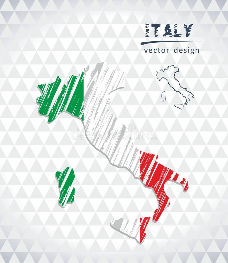 Karte von Italien mit Hand gezeichneter Übersichtskarte nach innen Auch im corel abgehobenen Betrag lizenzfreie abbildung