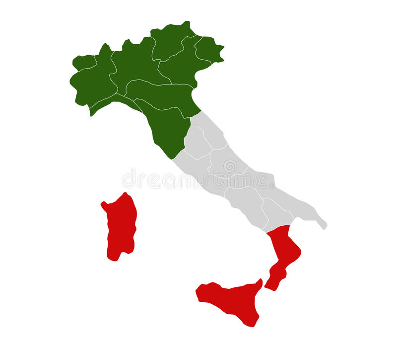 Karte von Italien mit Regionen vektor abbildung