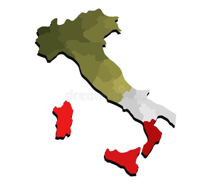Karte von Italien mit Regionen lizenzfreie abbildung
