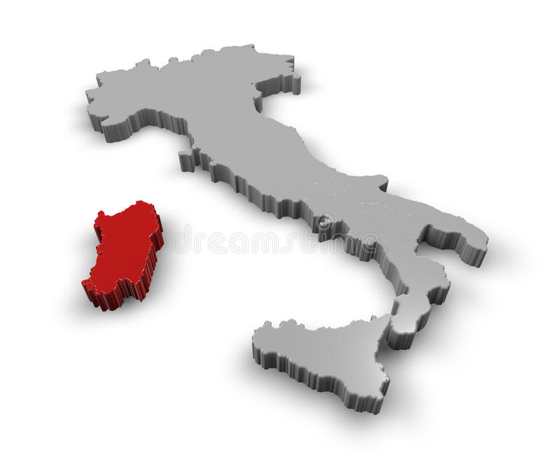Karte von Italien Sardinien lizenzfreie abbildung