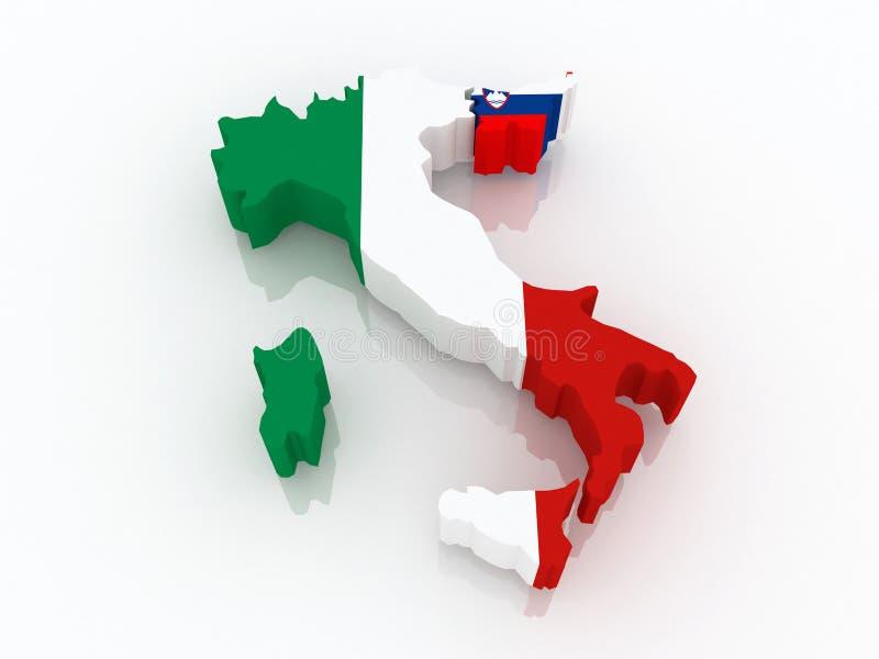 Karte von Italien und von Slowenien. stock abbildung