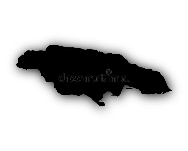 Karte von Jamaika mit Schatten stock abbildung