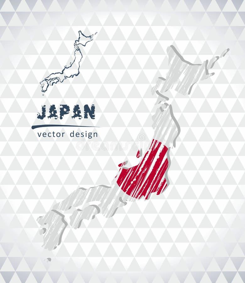Karte von Japan mit Hand gezeichneter Skizzenstiftkarte nach innen Auch im corel abgehobenen Betrag vektor abbildung