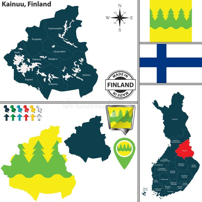 Karte von Kainuu, Finnland lizenzfreie abbildung