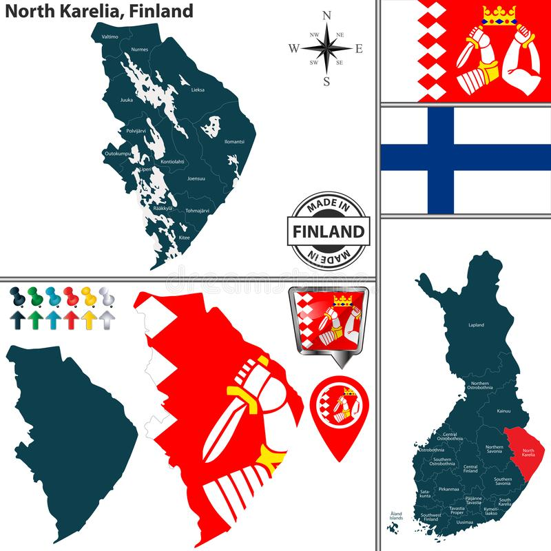 Karte von Kainuu, Finnland vektor abbildung