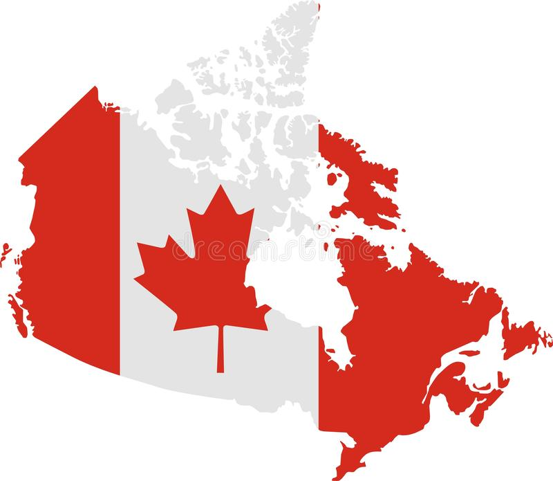 Karte von Kanada mit Markierungsfahne vektor abbildung