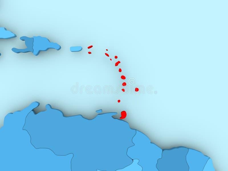 Karte von Karibischen Meeren lizenzfreie abbildung