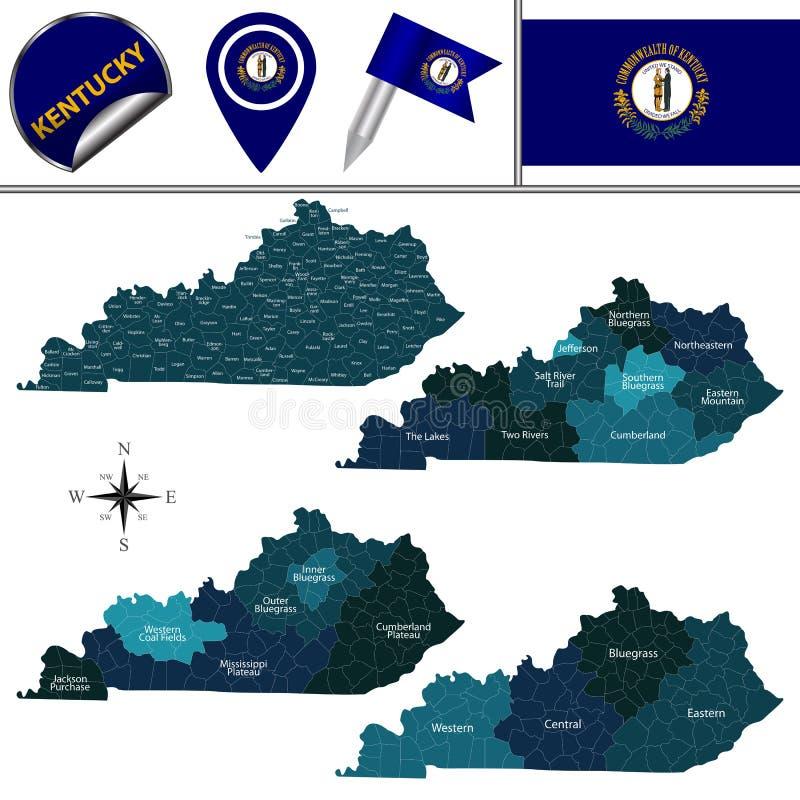 Karte von Kentucky mit Regionen vektor abbildung