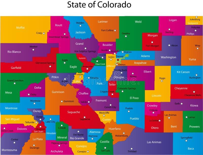 Karte von Kolorado lizenzfreie abbildung