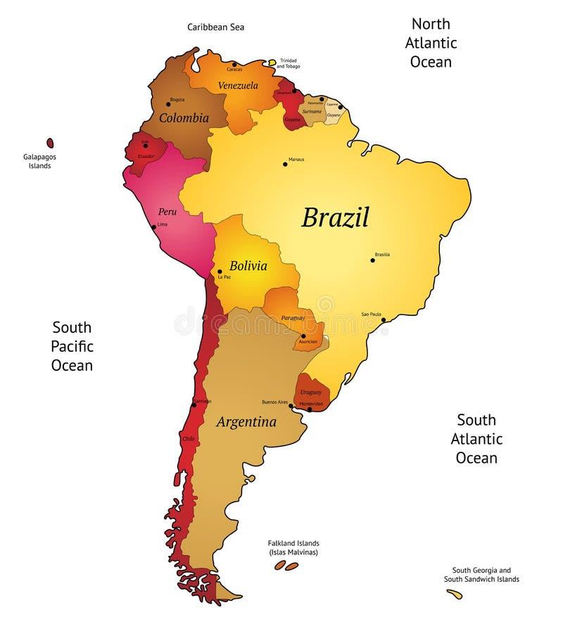 Karte Von Lateinamerika Vektor Abbildung Illustration Von