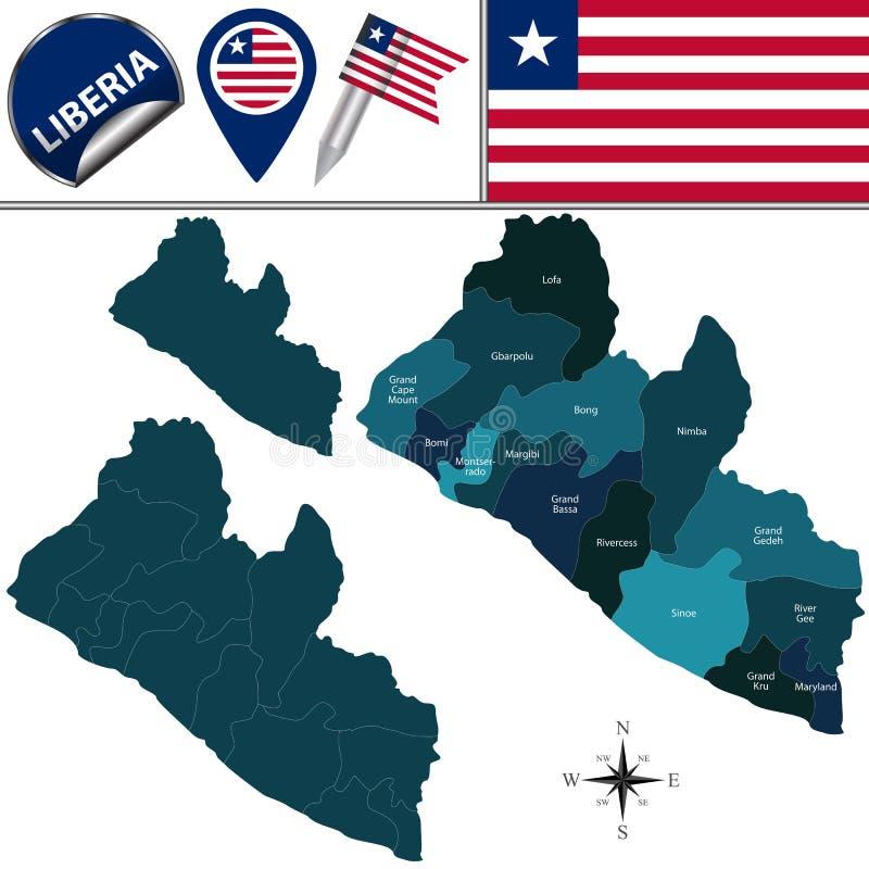 Karte von Liberia mit genannter Counties stock abbildung