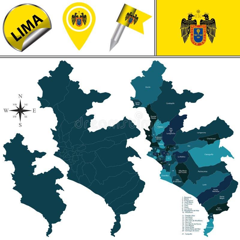 Karte von Lima mit Bezirken lizenzfreie stockfotos