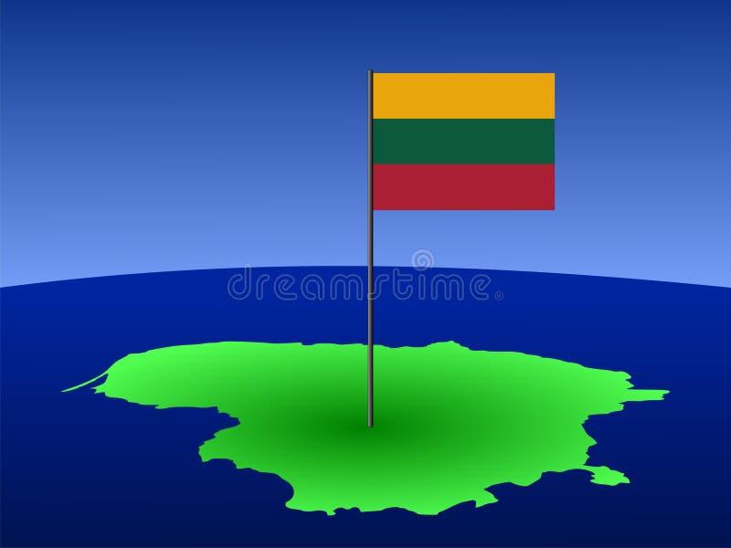 Karte von Litauen mit Markierungsfahne lizenzfreie abbildung