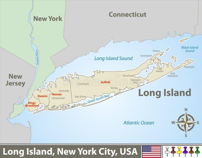 Karte von Long Island lizenzfreie abbildung