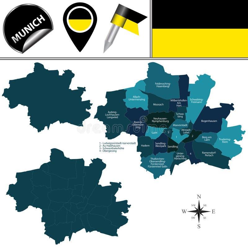 München Karte Deutschland.München Skyline Mit Karte Vektor Abbildung Illustration Von