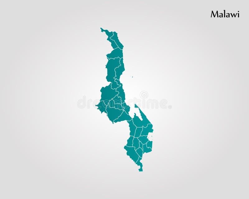 Karte von Malawi stock abbildung