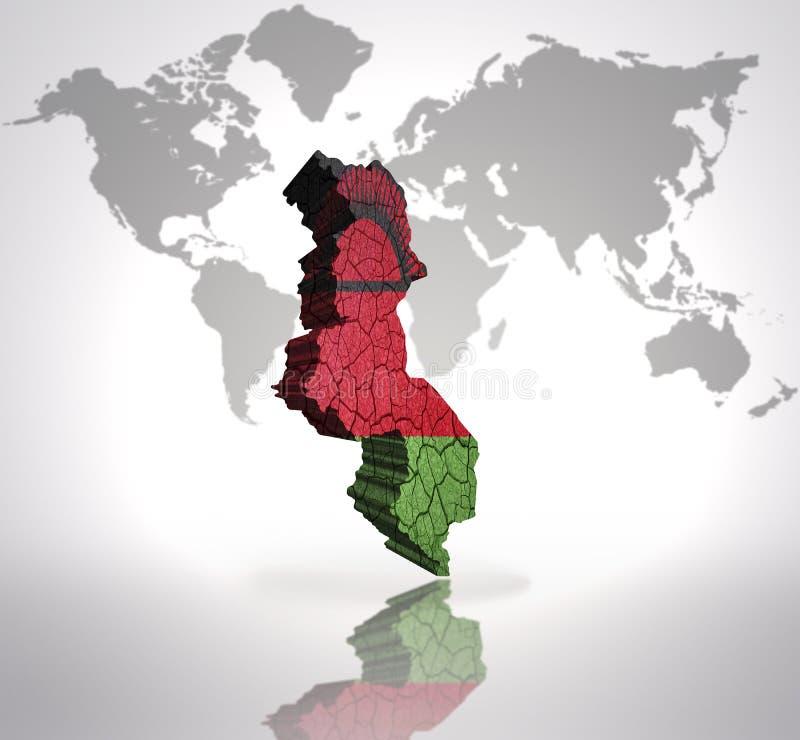 Karte von Malawi lizenzfreie abbildung