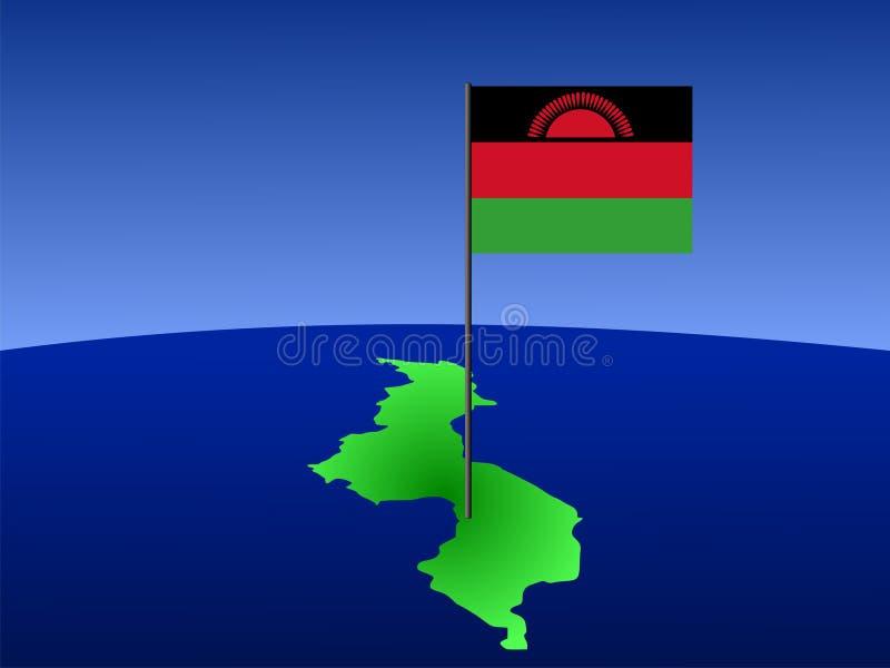 Karte von Malawi mit Markierungsfahne lizenzfreie abbildung