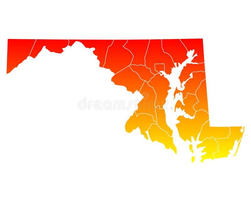 Karte von Maryland stock abbildung
