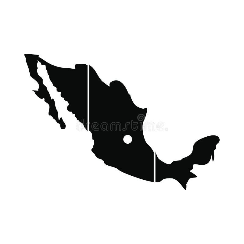 Karte von Mexiko-Ikone, einfache Art lizenzfreie abbildung