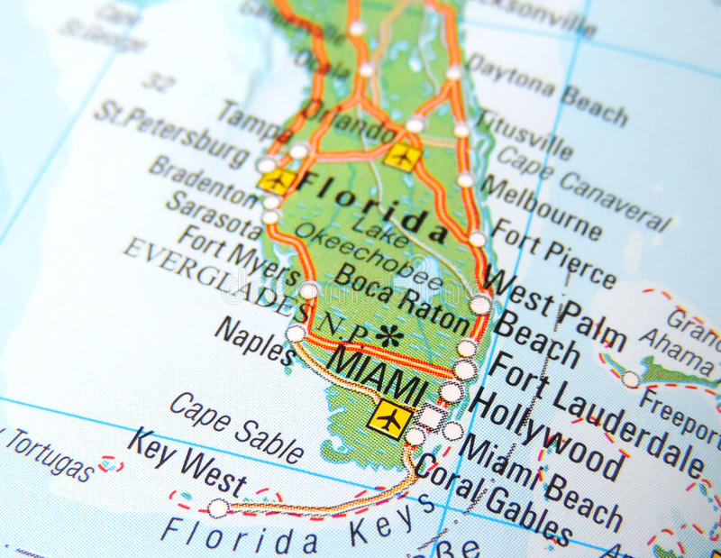 Karte von Miami stockfoto