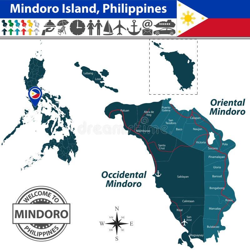 Karte von Mindoro-Insel, Philippinen lizenzfreie abbildung