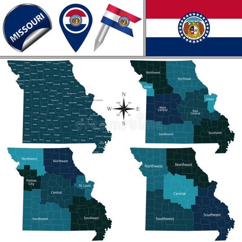 Karte von Missouri mit Regionen lizenzfreie abbildung
