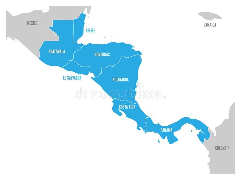 Karte von Mittelamerika-Region mit blauen hervorgehobenen zentralamerikanischen Zuständen Ländernameaufkleber Einfacher flacher V vektor abbildung