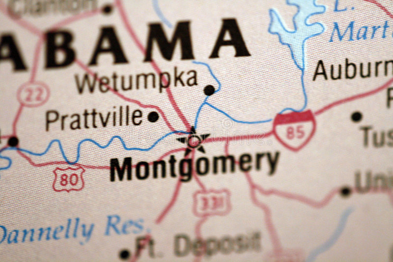 Karte von Montgomery Alabama stockfotos