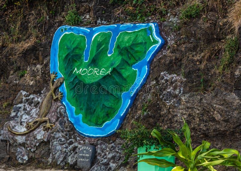 Karte von moorea stockfoto