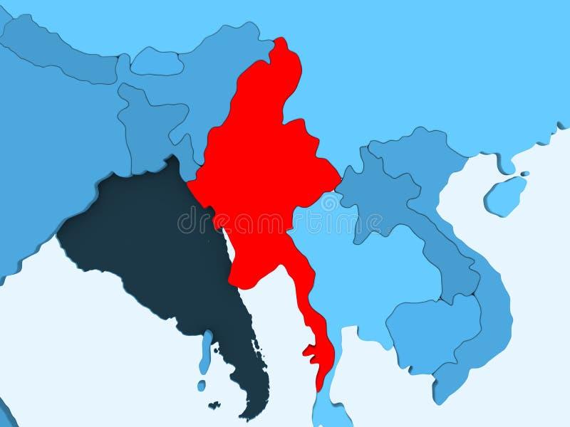 Karte von Myanmar lizenzfreie abbildung