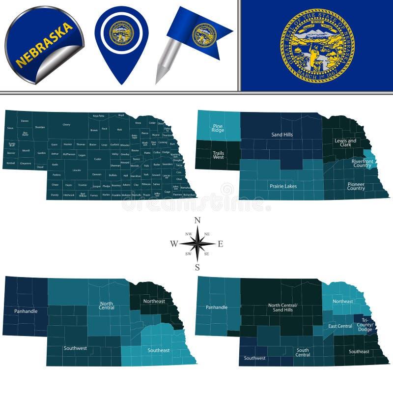Karte von Nebraska mit Regionen vektor abbildung