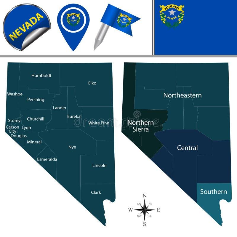 Karte von Nevada mit Regionen lizenzfreie abbildung