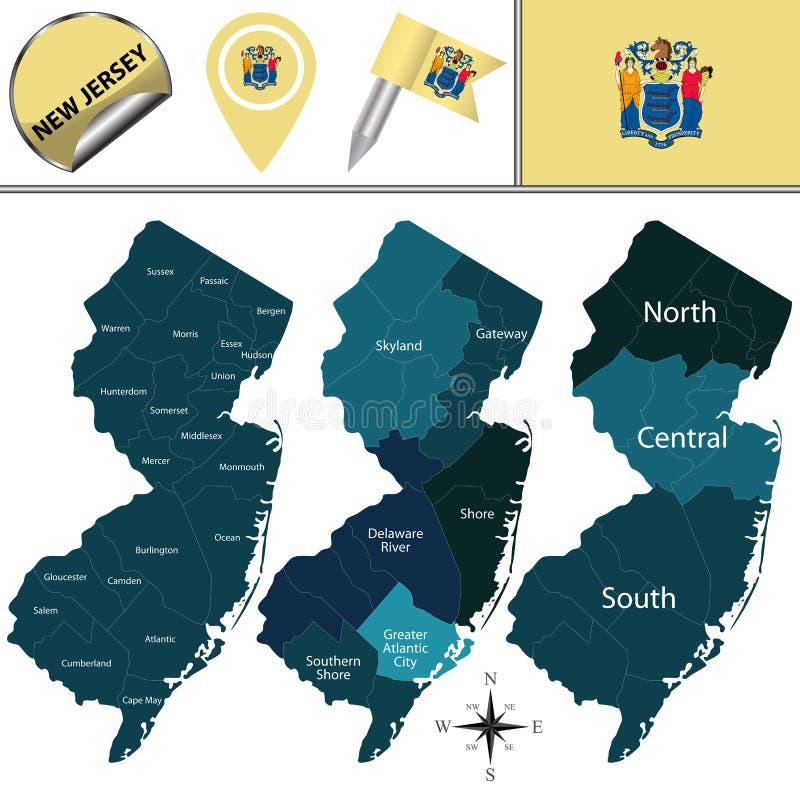 Karte von New-Jersey mit Regionen stock abbildung