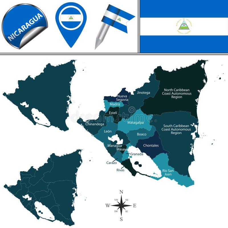 Karte von Nicaragua mit genannter Departments vektor abbildung