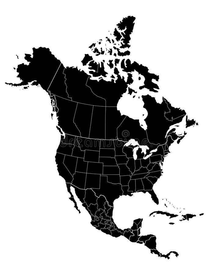 Karte von Nordamerika lizenzfreie abbildung