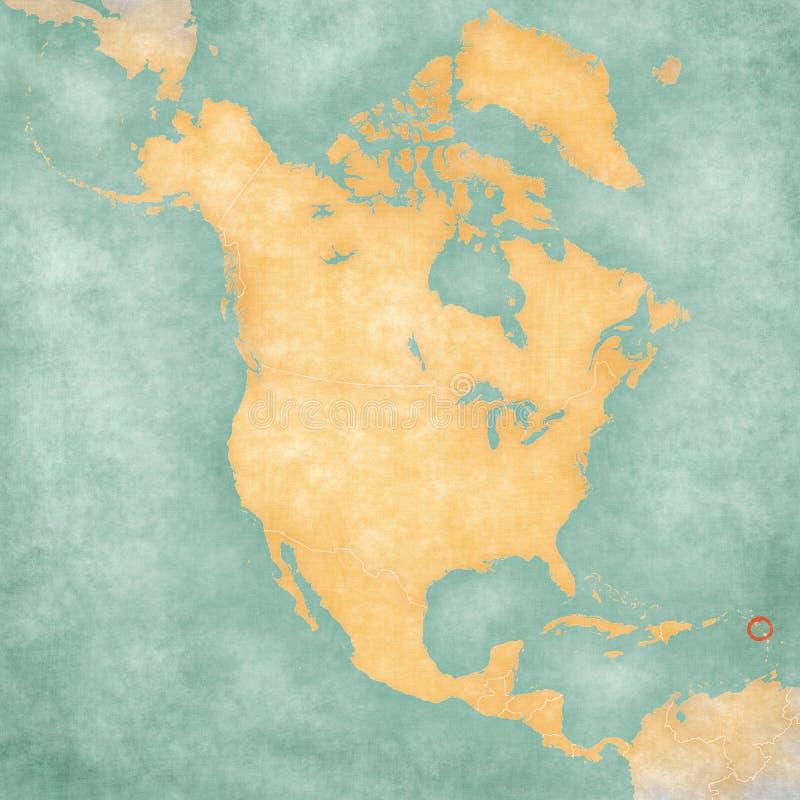 Karte von Nordamerika - Dominica lizenzfreie abbildung