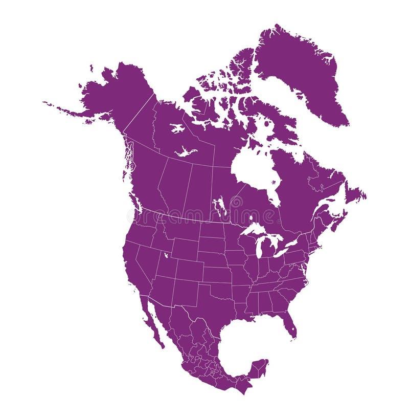 Karte von Nordamerika mit unterschiedlichen Ländern lizenzfreie abbildung