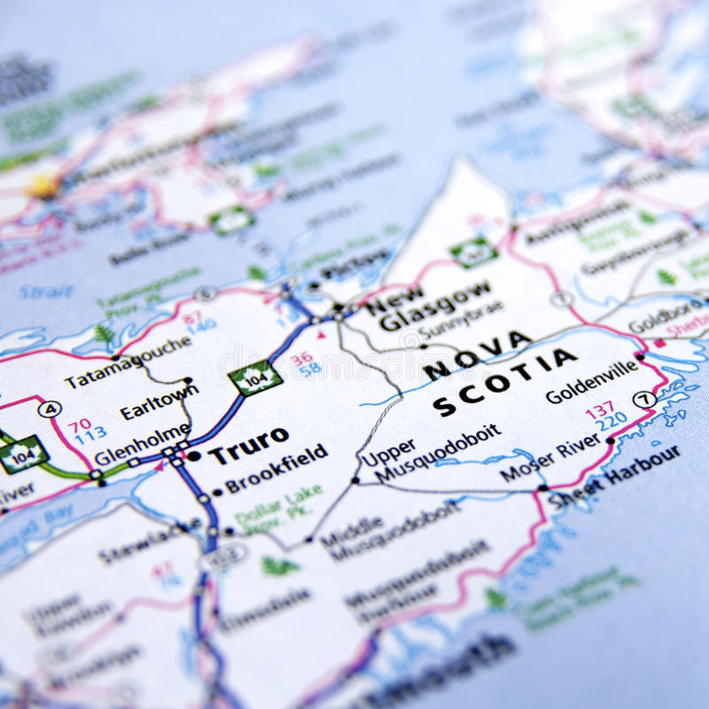 Karte von Nova Scotia lizenzfreies stockfoto