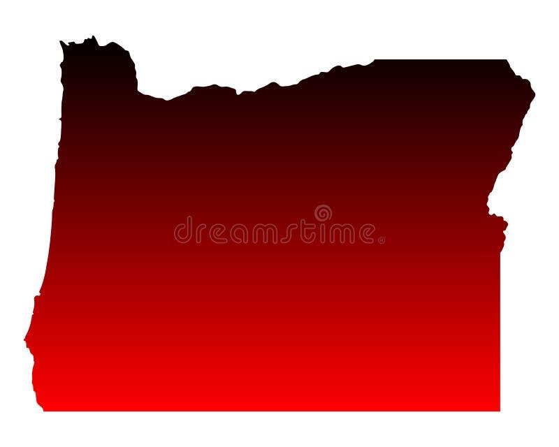 Karte von Oregon lizenzfreie abbildung
