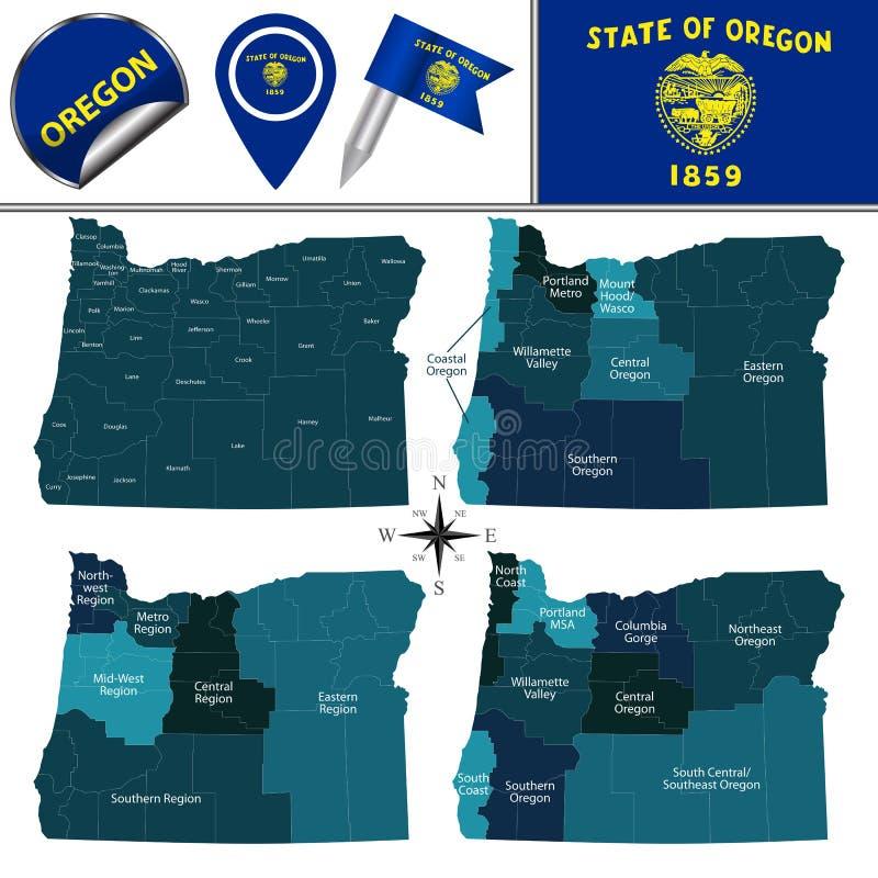 Karte von Oregon mit Regionen stock abbildung